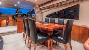 Top Gun Yacht Interior Dinning Area